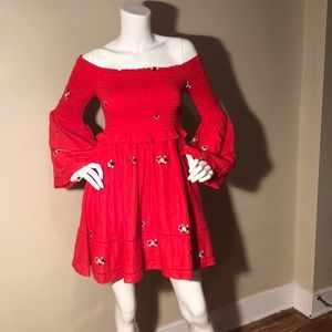 Free People Red Dress Bell Sleeves Size XS